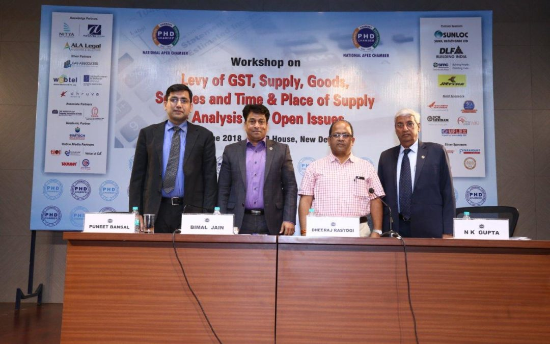 PHD Workshop on Levy of GST, Supply, Goods, Services,  Time & Place of Supply & Analysis on Open Issues I By  Puneet Bansal